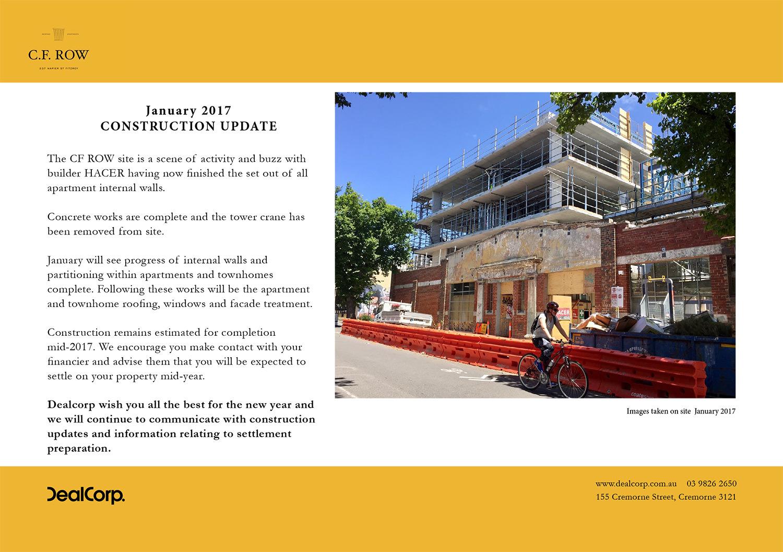 C.F. Row Construction Update January 2017